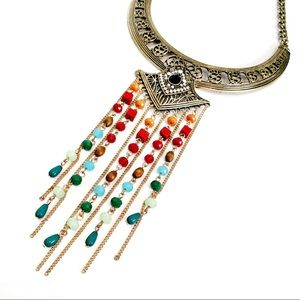 Jewelry - Beaded Fringe Collar Necklace Wood Crystal Drops